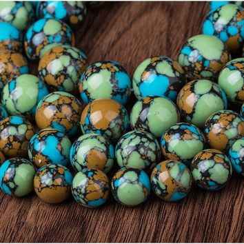 4/6/8/10/12/14/16/18/20mm Colorful Natural Turquoise Gemstone Stone Round Spacer Beads Charm for Jewelry Making
