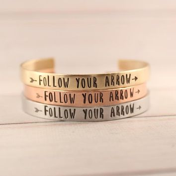 """Follow Your Arrow"" Cuff Bracelet - Your choice of pure aluminum, copper, brass or sterling silver"