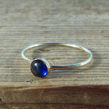 Stacking Ring Gold with Blue Sapphire Gemstone