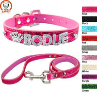 Bling Personalized Leather Small Dog Collar Leash
