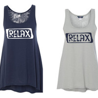 RELAX tank   flowy soft crochet back high low * NEW for 2017