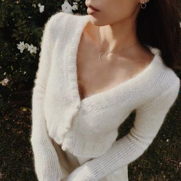2018 Spring Autumn Cardigan Women Sexy Crop Top Sweater Solid Color V-neck Long Sleeve Buttons Knitted Sweater Pull Femme