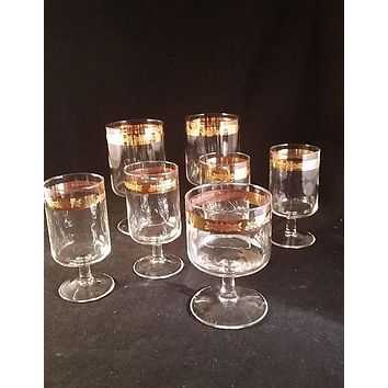 Stemware with Elegant Gold Band Embossed Roses  S/7