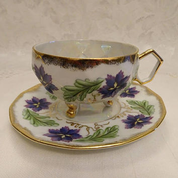 Hand Painted Footed Violet Geometric Lusterware Tea Cup and Saucer - Japan