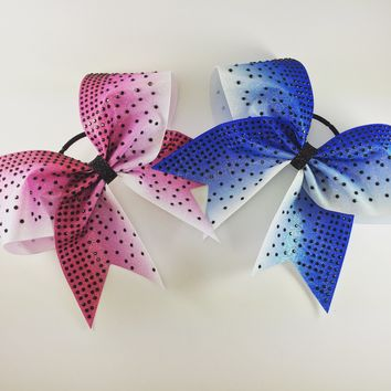 Ombre glitter bow with rhinestones