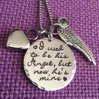 Cremation Necklace - I used to be his angel now he's mine - Memorial Jewelry Dad - Sympathy gift - Remembrance Necklace - Urn jewelry