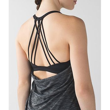 Lululemon Fashion Crisscross Gym Yoga Sport Vest One Piece Shirt Top Tee