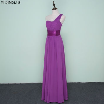 YIDINGZS Stock One Shoulder Chiffon Formal Wedding Party Dresses Long Bridesmaid Dress Red Black Purple