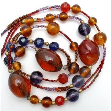 Brown Purple Blue & Red Glass Bead Necklace 40""