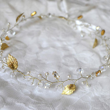 Bridal Hair Vine, Wedding Headpiece, Wedding Crystal Halo, Gold Veil Accessory, Gold Leaf Headpiece, Wedding Hair Vine, Bridal Hair Piece