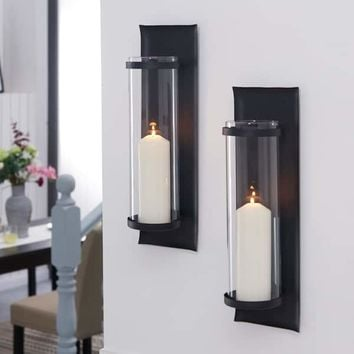 Danya B. Metal Pillar Candle Sconces with Glass Inserts (Set of 2) | Overstock.com Shopping - The Best Deals on Candles & Holders