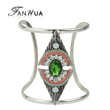 Ethnic Style Indian Jewelry Antique Silver Big Open Cuff Bangles Colorful Rhinestone Geometric Bracelets For Women