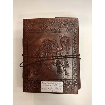 EMBOSSED LEATHER JOURNAL BLANK HANDMADE PAPER DAIRY BOOK