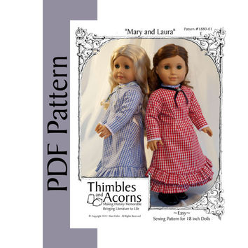 PDF Pattern for 1880s Mary and Laura Dress - Replica of Laura Ingalls Dress for 18 inch American Girl Doll