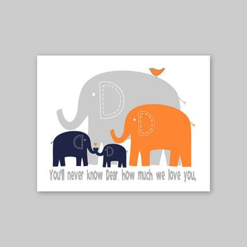 Baby Gift Wall Art, Elephant Wall Art Print, You Are My Sunshine Wall Art Nursery Decor Elephant Family Print , Navy Orange Gray