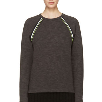 T By Alexander Wang Charcoal Fleece Neon Trim Sweatshirt