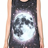 Cosmos Galaxy Universe Space Full Moon Singlet Tank Top Tee Size L