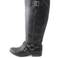 Belted Knee-High Moto Boots by Charlotte Russe