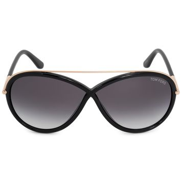 Tom Ford Tamara Oval Sunglasses FT0454 01B 64 | Black Acetate Frame | Grey Gradient Lenses