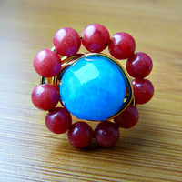Salmon and Aqua Gemstone Wire Wrapped Ring - 24K Gold Plated Wire