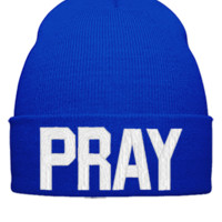 PRAY EMBROIDERY HAT - Beanie Cuffed Knit Cap