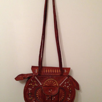 Vintage Moroccan Tooled Leather Bag