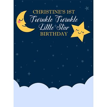 Custom Midnight Twinkle Twinkle Little Star 1st Birthday Backdrop (Any Color) Background - C0290