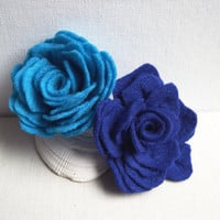 Felted Rose hairpin,Turquoise Blue or Deep Blue , Glam fashion, Flower Brooch, Felted Brooch, Bridesmaid hairpin