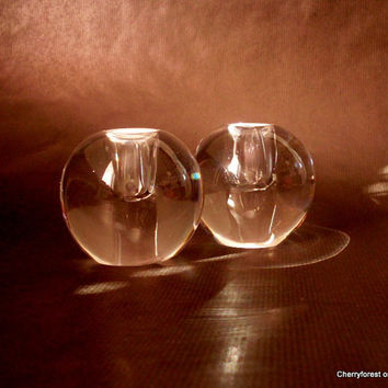 Orrefors candleholders,  signed  H U 139/5  uncut smooth glass