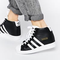 Adidas Originals Superstar Concealed Wedge Black High Top Trainers