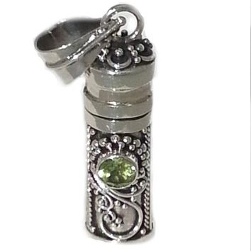 Sterling Silver Cylinder Prayer Box Pendant with Peridont