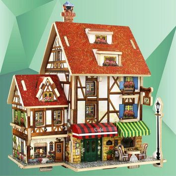 DCCKL72 3D Wood Puzzle DIY Model Kids Toy France French Style Coffee House Puzzle,puzzle 3d building,wooden puzzles E5M1