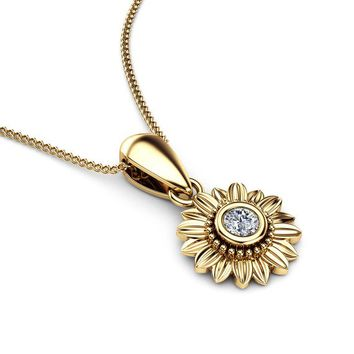 Sunflower Diamond Pendant 14K Yellow Gold Bridal Jewelry Nature Inspired Necklace Anniversary Gift