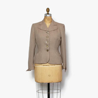 Vintage 40s Textured BLAZER / 1940s 2-Tone Taupe Wool Tailored & Fitted Jacket