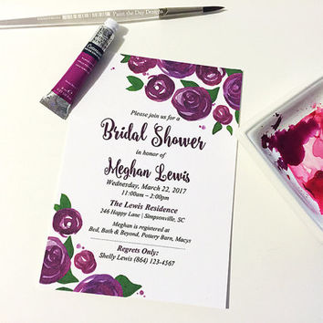 "Watercolor Wedding Shower Invitation - Rose Bridal Shower Card (Set of 25) ""Lovely Roses"" Purple Wedding Bridal Shower - Watercolor Wedding"