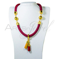 Necklace for women in burgundy color