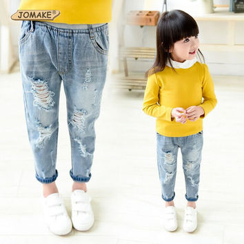 Kids Jeans Boys Girls Trousers Autumn Fashion Designer Children Denim Pants Casual Ripped Jeans For 2~9 Years