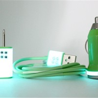 iPhone accessories with rhinestones on Teal Glow in the Dark charger set