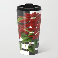 vintage poinsettia on modern background Metal Travel Mug by Clemm