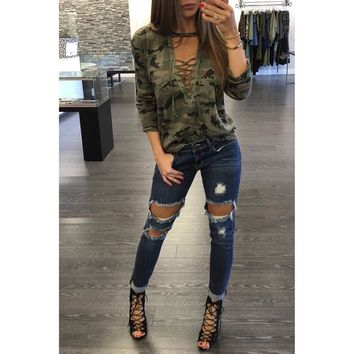 Camouflage Camo Long Sleeve Lace Up Shirt For Women