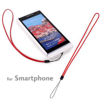 Simple Real Leather Wrist Cell Phone Strap (Red)