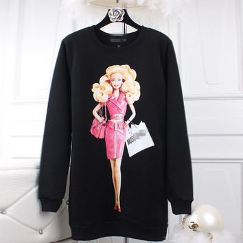 2017 New Fashion Love Pink Peach 3D Barbie Pattern Printed Hoodie Thickening Loose Sweatshirt Tracksuits Clothing