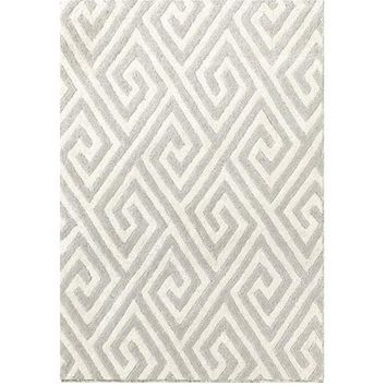 Fretwork Grey Tufted Wool Rug