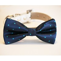 Navy Dog Bow Tie Polka dots wedding collar, Dog Lovers, Navy Tiffany blue wedding