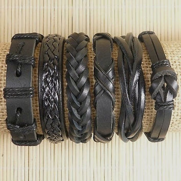 Leather Bracelets 6 Piece Mens Bracelets Leather Braclets for Women Leather Wrap Bracelets BST-527