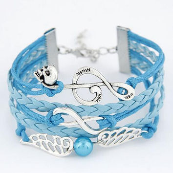Retro Musical Note Pearl Wing  Multilayer Woven Wrap Charm Bracelet For Men and Women Wonderful Christmas Gift