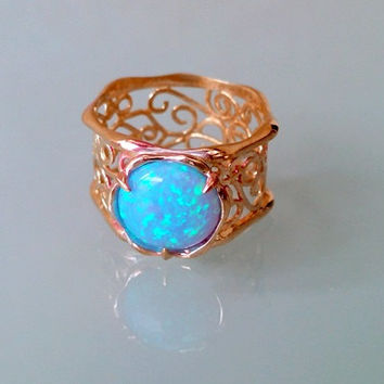 30% off-SALE! Opal ring,lace ring, filigree ring, gold ring, modern ring, cocktail ring ,gold wide ring, bridesmaid gift, delicate ring