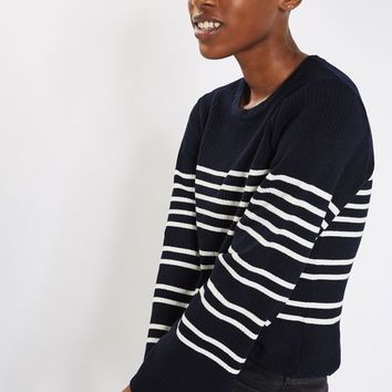 Wide Sleeve Stripe Knitted Jumper