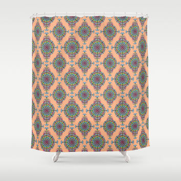 Vintage Moroccan Pattern in Peach Shower Curtain by Heaven7