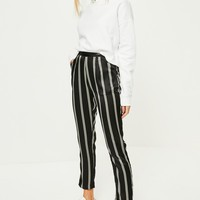 Missguided - Black Striped Satin Cigarette Pants